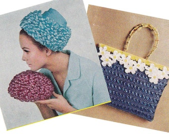 Myart Book 3 Purses Handbags Totes Clutches Hats Crochet Knitting Patterns booklet Vintage 1960s ORIGINALS NOT PDF