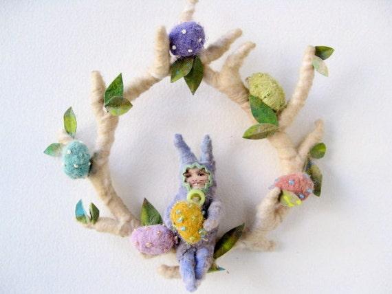 Ooak Vintage Appeal Spun Cotton  Easter Bunny Spring Wreath