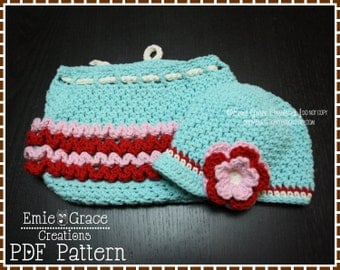 Crochet Newsboy Hat and Ruffle Diaper Cover Patterns, AVERY and KENNEDY - pdf 228, 710