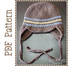 Brimmed Ear Flap Hat Crochet Pattern, 8 Sizes from Newborn to Adult, CALEB - pdf 403