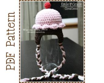 Crochet Cupcake Hat Pattern, Birthday Party Hat,  LIL' CUPCAKE Ear Flap - pdf 202