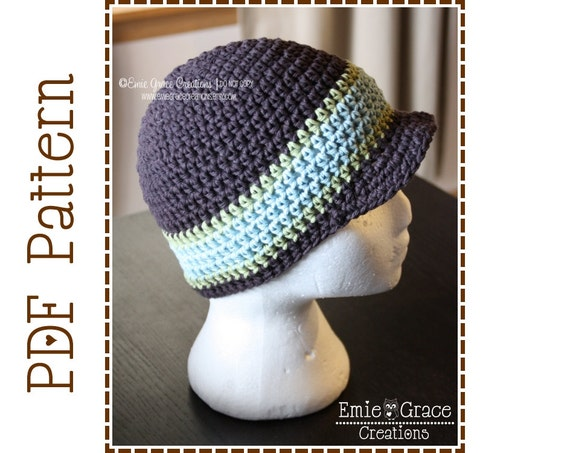 Newsboy Hat Crochet Pattern, Striped Brimmed Beanie, BRENDAN - pdf 402
