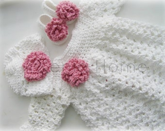0-3 Months Baby Girl Long Sleeve Dress in Cotton, Shoes and Beanie Hat set in White