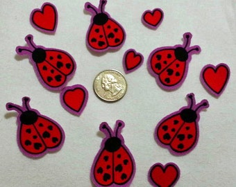 SALE! 6 Retro Lady Bugs Hearts Valentines Day No Sew Iron On Appliques Cotton Patches