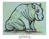 Hippay - Original Mini Ink & Watercolor Drawing on Card Stock Paper