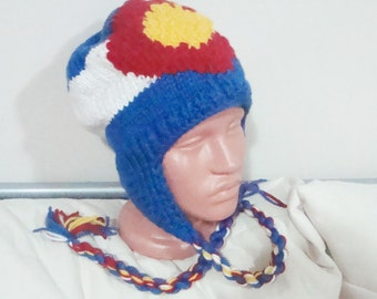Colorado Flag Knit Winter Hat, Colorado gifts for men, Blue, red, white, yellow