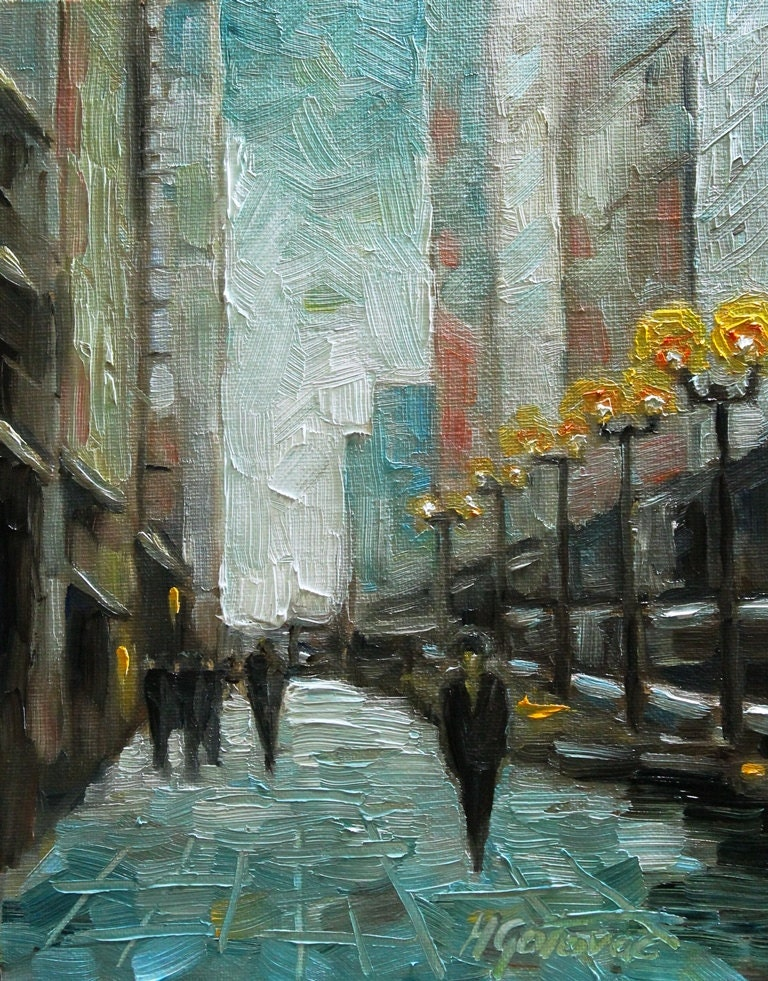 Original oil painting my town modern contemporary urban for Contemporary oil paintings
