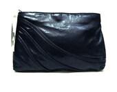Vintage Midnight Blue Leather Clutch Handbag