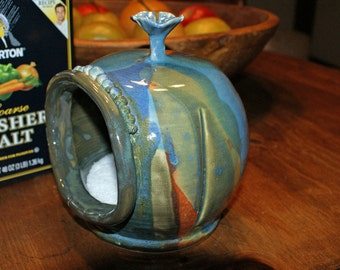 Ceramic Salt Pig / Multi Colored Splash / Blues / Greens / Burnt Orange / SECOND