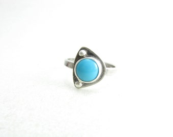 Abstract Sleepying Beauty Turquoise Sterling Silver Ring