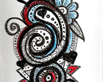 Abstract ACEO -  art card fantasy romantic - valentine  marker art - black and white art