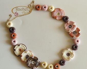 Lampwork Flower Glass Beads, FREE SHIPPING, Set of Handmade Disc Beads (20 )