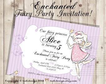 Enchanted Fairy Birthday Party Invitation - Printable digital file