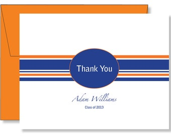 Custom Oval Graduation Thank You Note Cards Any Color