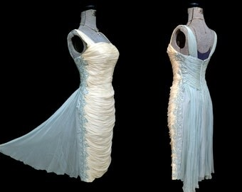 Vintage 50s RUCHED BOMBSHELL Red Carpet Dress Baby Blue and Ivory Curvaceous Wiggle with Train Cocktails Evening Wedding  AMAZING