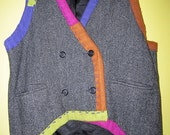 Wool Tweed upcycled Hand sewn vest circa 1995 fits med Lg Xl