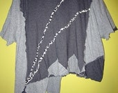 Two Shades of Gray grey upcycled cotton top fits sizes thru 5x