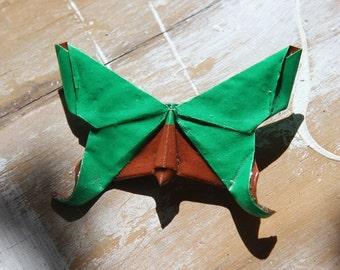 Origami Butterfly Broach - Bright Green and Brown