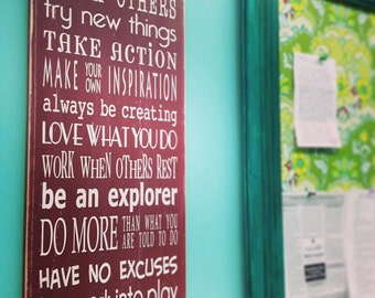 Family Rules The Creators Rules Teach Others, Have No Excuses, Be An Explorer - Typography Word Art Wooden Sign