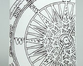 Blank embossed card with compass motif (set of 5)