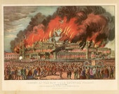 Currier and Ives print, lithograph, fireman, fire, San Francisco, Fireman print, firetruck lithograph, home decor