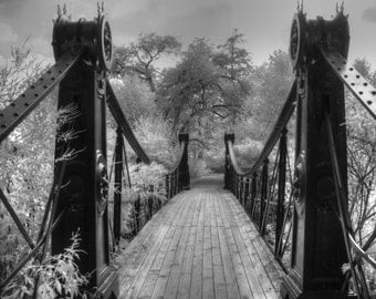 Steam Punk victorian bridge forest park, fine art photography, black and white photography, Victorian photography, feng shui home  decor