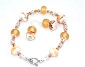 Tan Gold White Lampwork bracelet and earrings jewelry set