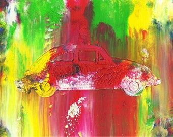 The Beetle Abstract Acrylic Car Painting in Double White Mat - Very Cool Original Painting