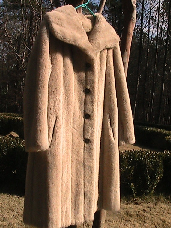FREE Shipping - Vintage - TISSAVEL- FRANCE Faux Fur Full Length Coat - Leather
