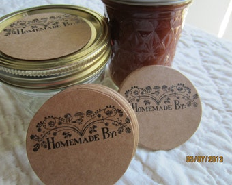 Mason Jar Stickers-Canning Jar Labels-Homemade By- Circle Kraft Colored Stickers-Homestead Canning Stickers