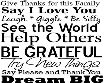 FAMILY RULES 27x47 Vinyl Decal Home Decor Door Wall Lettering Words Quotes