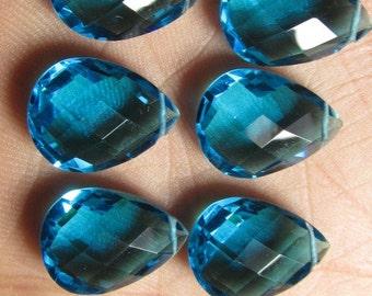 4 Matched Pair - AAAA - High Quality Gorgeous Apatite Pecock Blue  colour Quartz Pear Briolett Super Sparkle Huge size - 12x16 mm - drilled