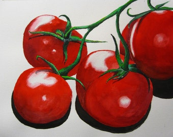 Tomatoes - Original Watercolor Painting 11x14 - veggie vegetables kitchen wall art
