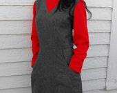 Wool Dress School Teacher Red Gray Long Sleeves Vintage Country Fair XL