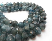 Gemstone Bead, Faceted Moss Aquamarine, Center Drilled Onion, Large Onion Beads, 9x8mm, 2inches   8 pc
