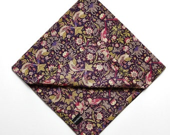 Pomp & Ceremony Pocket Square handkerchief Liberty of London Strawberry Thief G