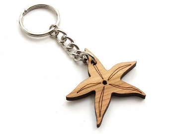 Starfish Keychain . Sea Creatures .  Sustainable Red Maple Wood . Timber Green Woods