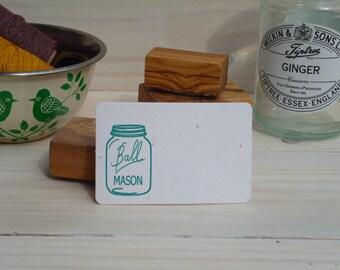 Mason Jar Olive Wood Stamp