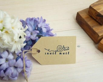 Wee Snail Mail Olive Wood Stamp