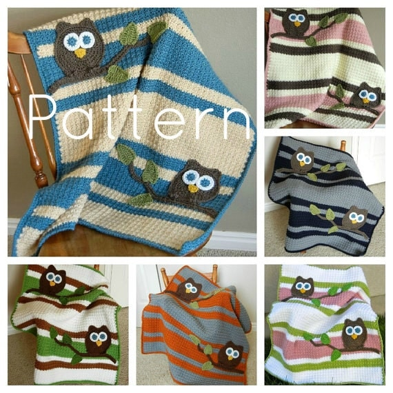 Crochet Owl Blanket : PATTERN Owl Baby Blanket Crochet Pattern Instant Download Bonus Lovey ...