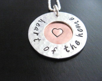 Heart of the Home Hand Stamped Heart Necklace, Textured Sterling Silver, Copper Pendant