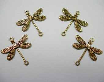 Antiqued Brass Dragonfly Victorian Earring Drops Findings Stampings -4