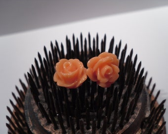 dark peachy orange post stud flower rose earrings