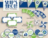 SHIP'S AHOY Nautical Birthday Printable Package in Lime Green and Navy Blue- Instant Download