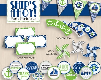 SHIP'S AHOY Nautical Baby Shower Printable Package in Lime Green and Navy Blue- Instant Download