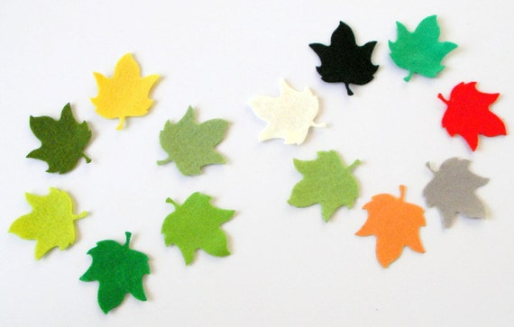 24 Piece Die Cut Felt Appliques- Petit Plane Leaves-Shades of Green