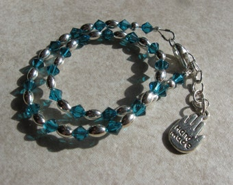 blue zircon swarovski crystal and silver anklet