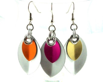 Large Scale Maille Earrings, Silver and CHOOSE your COLOR