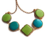 Lime green and blue dyed bone recycled vintage necklace