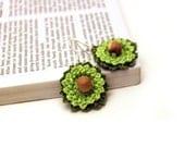 Crochet Earrings / Green Flower Earrings / Lace Earrings / Made in Israel - FREE Shipping